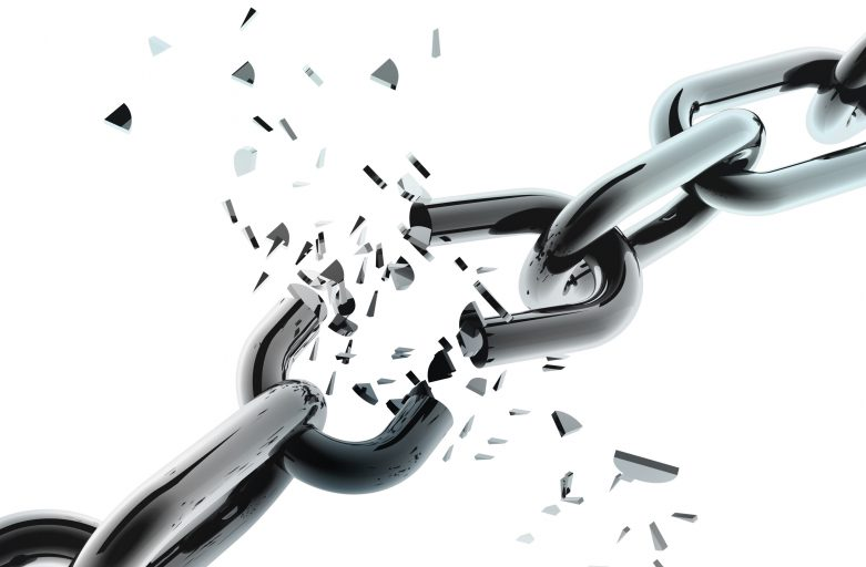 3D chain breaking - isolated over a white background